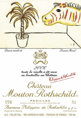 The 2006 wine label designed by British artist Lucian Freud. (Chateau Mouton Rothschild/Associated Press)